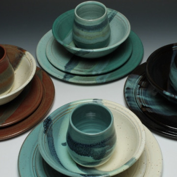 dinnerware in four color options