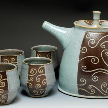carved tea set